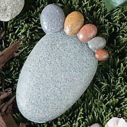 Pebble Footprint Garden Rock with Key Storage