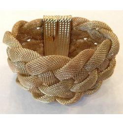 Gold Tone Braided Mesh Cuff Bracelet