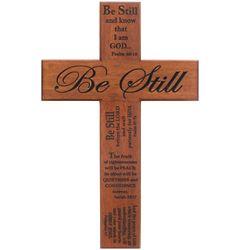 """Be Still & Know 12"""" Mahogany Wall Cross"""