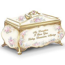 Personalized Porcelain Daughter Music Box with Heart Charm