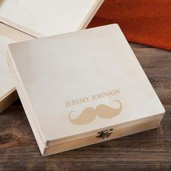Mustache & Name Personalized Wooden Box