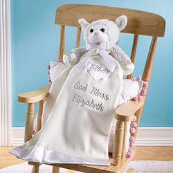 Personalized Ivory Baptism Bear Blankie