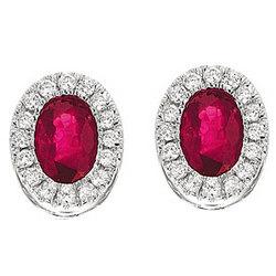 14k White Gold Oval Ruby Prong Stud Diamond Earrings