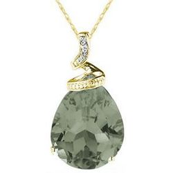 Pear Shaped Green Amethyst & Diamond Pendant in 10K Yellow Gold