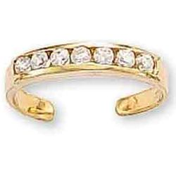 14k Yellow Gold 7 CZ Toe Ring