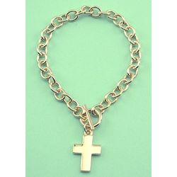 Engravable Gold Plated Cross Charm Bracelet