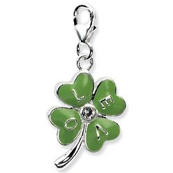 Sterling Silver 3D Green Love Clover Charm