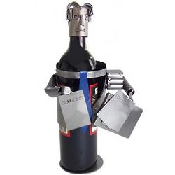 Lawyer Wine Bottle Holder Holding Summons & Contract