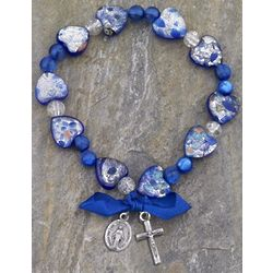 Speckled Murano Glass Blue Hearts Rosary Bracelet