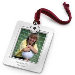 Picture Frame Christmas Ornament with Soccer Charm