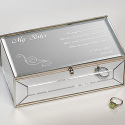Friend of My Heart Engraved Mirrored Jewelry Box