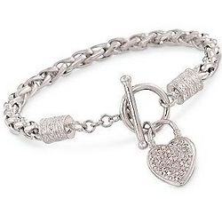 Diamond Heart Charm Toggle Clasp Bracelet