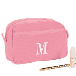 Personalized Light Pink Waffle Weave Cosmetic Bag