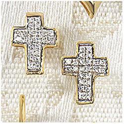 Diamond Cross Posts Earrings