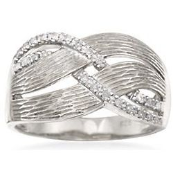 Woven Textured Diamond Ring in Sterling Silver