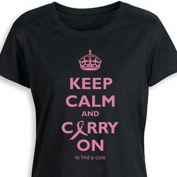 Keep Calm and Carry On Breast Cancer Awareness Tee