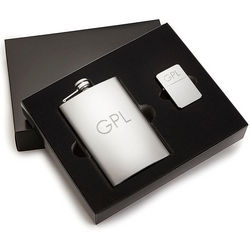 Personalized Classic Flask and Lighter