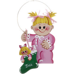 Toddler Girl with Stocking Personalized Ornament