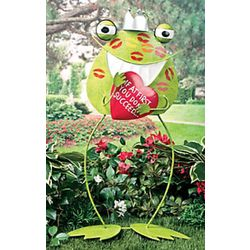 Kissing Frog Prince Yard Stake