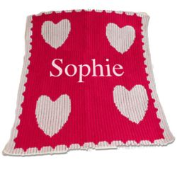 Personalized Full Name and Multiple Hearts Baby Blanket