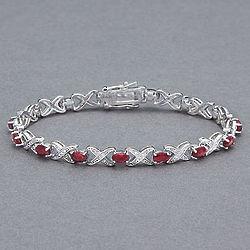 XOXO Sterling Silver Ruby Bracelet