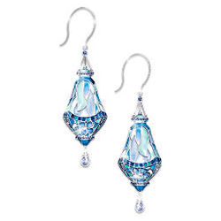 Tiffany Style Teardrop Stained Glass Earrings