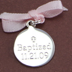 Sterling Silver Small Round Engraved Charm