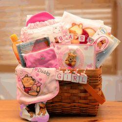 Winnie The Pooh Pink New Baby Basket