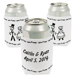 Bride and Groom Personalized Wedding Can Covers