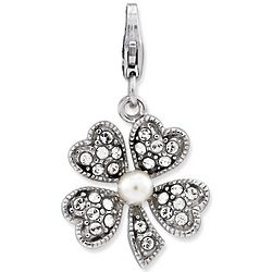 Sterling Silver Cultured Pearl Clover Charm