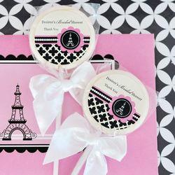Personalized Paris Themed Lollipop Favors