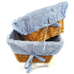 Honey Square Nursery Baskets with Navy Gingham Liners