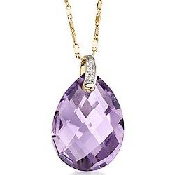 14K Gold Amethyst Pendant Necklace