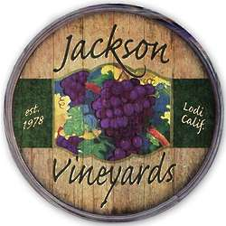 Personalized Purple Grapes Wine Barrel Sign