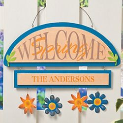 Welcome Spring Personalized Wooden Sign