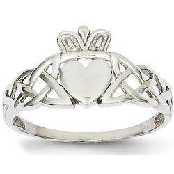 14k White Gold Men's Claddagh Ring with Trinity Knot