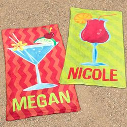 Personalized Tropical Cocktail Beach Towel