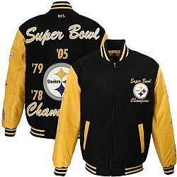 cee3071a1 Pittsburgh Steelers Black Varsity Leather Jacket - FindGift.com