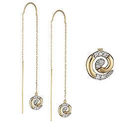 14K Gold Diamond Threader Earrings