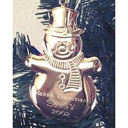 Engraved Gold Tone Snowman Ornament