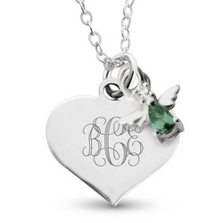 Girl's May Birthstone Angel Necklace