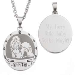 Shih Tzu Stainless Steel Engraved Necklace