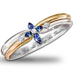 Trinity Sapphire and Diamond Cross Women's Ring