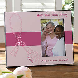 Personalized Never Give Up Breast Cancer Awareness Picture Frame