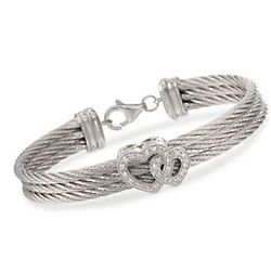 Diamond Heart Triple Cable Bracelet