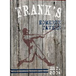 Personalized Weathered Home Run Canvas