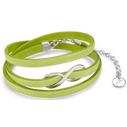 Neon Green Infinity Leather Bracelet