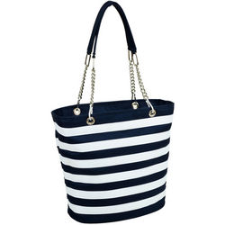 Blue and White Striped Cooler Tote