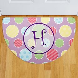Personalized Fun Polka Dot Half Round Doormat