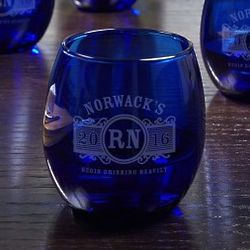 Marquee Personalized Cobalt Wine Glasses